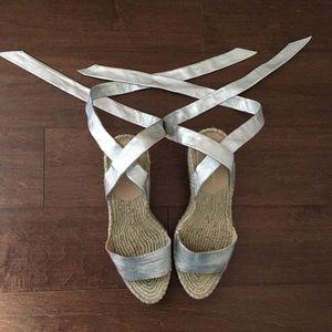 Harper Ankle-Wrap Wedge Espadrille Sandal, Silver